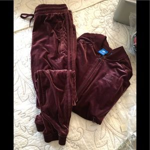 Adidas velour track suit size small